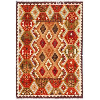 Herat Oriental Afghan Hand-woven Tribal Wool Kilim (5'7 x 8')