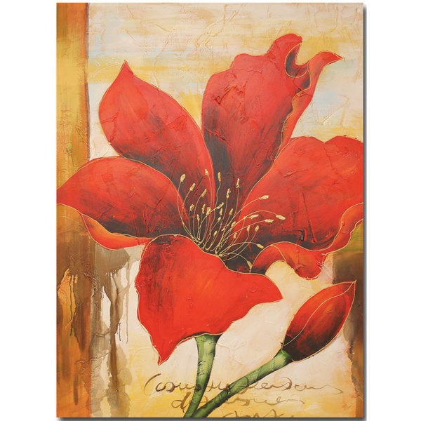 Canvas Oil Painting - Hand Painted Red Flower