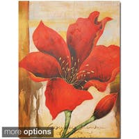 Canvas Oil Painting - Hand Painted Red Flower - Multi