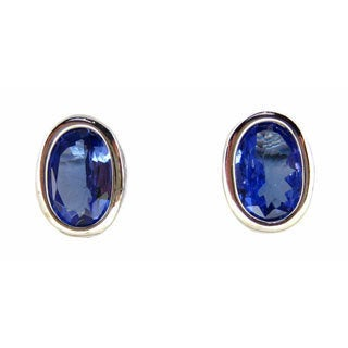 Kabella 14k White Gold Bezel-set Tanzanite Oval Stud Earrings