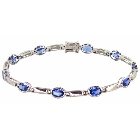 "Kabella 14k White Gold Oval Gemstone 7"" Bracelet"