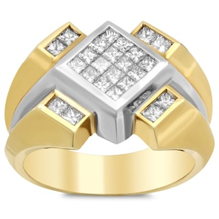 18k Yellow Gold Men's 1 4/5ct TDW Diamond Ring (F-G, VS1-VS2)