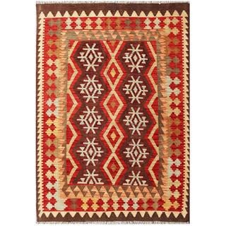 Herat Oriental Afghan Hand-woven Tribal Kilim Brown/ Red Wool Rug (4'2 x 5'11)