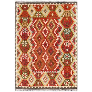 Herat Oriental Afghan Hand-woven Tribal Kilim Red/ Ivory Wool Rug (5'10 x 7'10)