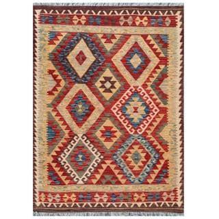 Herat Oriental Afghan Hand-woven Tribal Kilim Red/ Beige Wool Rug (4'4 x 5'9)