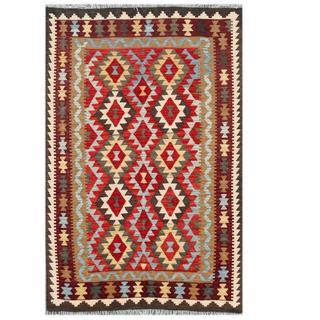 Herat Oriental Afghan Hand-woven Tribal Kilim Beige/ Brown Wool Rug (4' x 6')