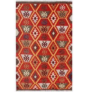 Herat Oriental Afghan Hand-woven Tribal Wool Kilim (4' x 6'2)