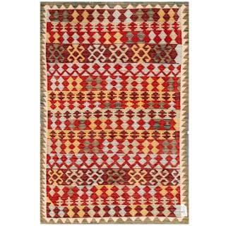 Herat Oriental Afghan Hand-woven Tribal Kilim Red/ Ivory Wool Rug (4' x 6'1)