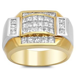 18k Yellow Gold Men's 3 1/4 ct TDW Diamond Ring (E-F, VS1-VS2)