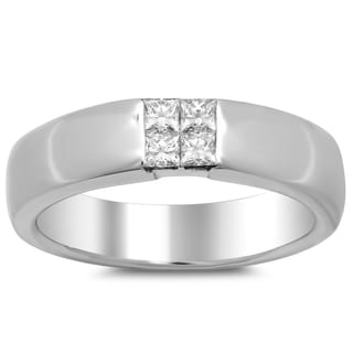 18k White Gold Men's 1/2 ct TDW Diamond Ring (E-F, VS1-VS2)