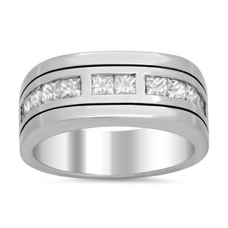 18k White Gold Men's 1 1/4ct TDW Diamond Ring (F-G, VS1-VS2)