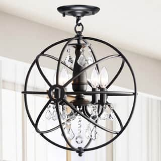 Benita Antique Black 4-light Iron Orb Flush Mount Crystal Chandelier|https://ak1.ostkcdn.com/images/products/9912893/P17071077.jpg?impolicy=medium