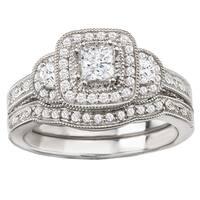 Avanti 14k White Gold 5/7ct TDW Princess Halo Vintage Diamond Bridal Set