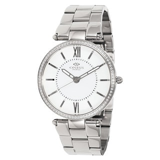 Oniss Women's Stuppendo Collection Silvertone Watch (Option: White)