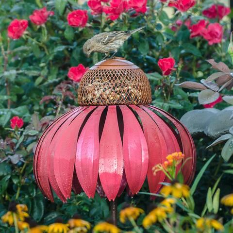 Coneflower Pink Metal Bird Feeder