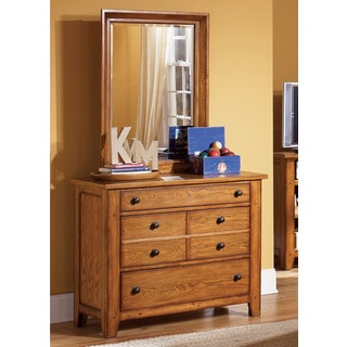 Liberty Aged Oak 3-Drawer Dresser and Mirror Set