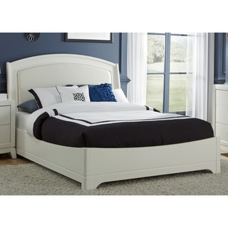 White Truffle Leather Headboard Platform Bed Set
