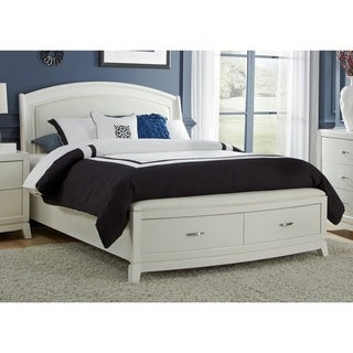 White PU Leather Storage Platform Bed Set