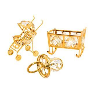 Matashi Gold Plated Matashi Crystal Baby Ornaments (Set of 3)