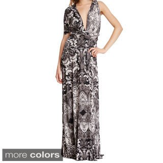 Women's Long Printed Maxi Dress Convertible Wrap Cocktail Gown Bridesmaid Multi Way Dresses One Size Fits 0-12