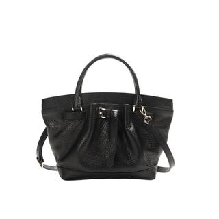 Wa Obi 'Leah' Black Leather Bucket Bag