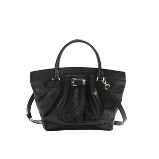 Wa Obi 'Leah' Black Leather Bucket Bag