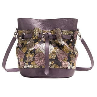 Wa Obi 'Eve' Purple Floral-printed Leather Shoulder Bag