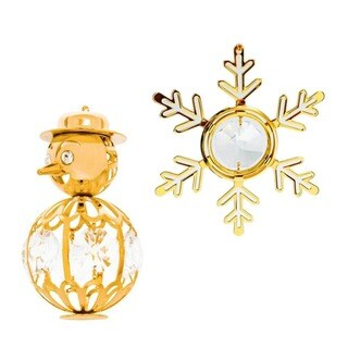 Matashi 24k Gold over Silver Matashi Crystal Snow Ornaments (Set of 2)