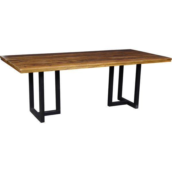 Home Kinda Distressed Brown And Black Reclaimed Wood Dining Table
