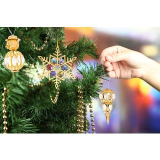 Matashi 24k Gold over Silver Austrian Crystal Snow Ornaments (Set of 3)