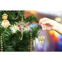 Matashi Gold over Silver Austrian Crystal Snow Ornaments (Set of 3)
