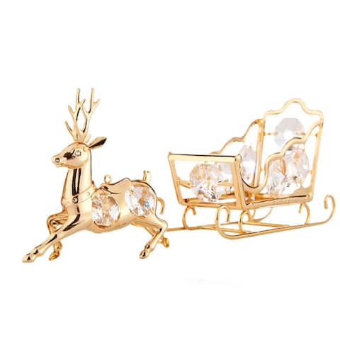 24K Gold Plated Crystal Studded Reindeer & Sleigh Ornaments by Matashi
