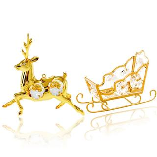 24k Gold over Silver Matashi Crystal Sleigh and Reindeer Ornaments