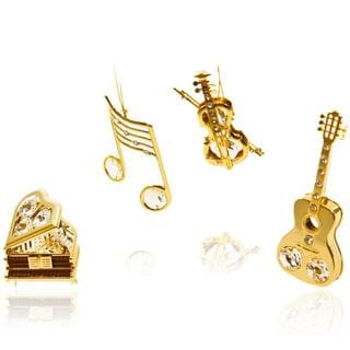 Matashi 24k Gold over Silver Matashi Crystal Musical Instruments Ornaments (Set of 4)