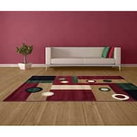 LYKE Home Prism Red/ Beige Area Rug - 8' x 10'
