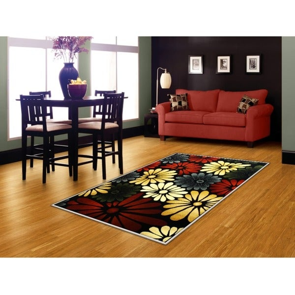LYKE Home Audrey Flower/ Multi Area Rug - Multi-color