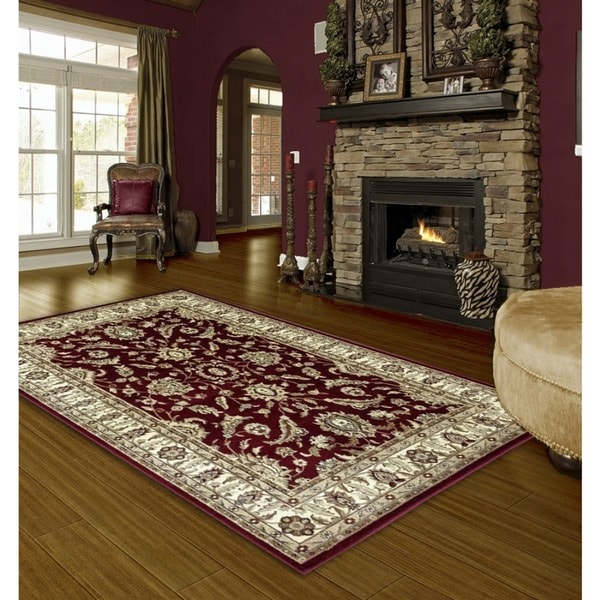 LYKE Home Audrey Red/ Beige Area Rug (5' x 8')