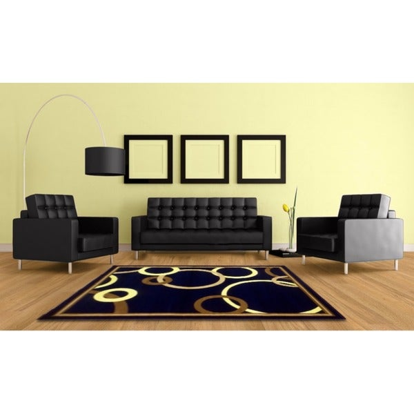 LYKE Home Audrey Black/ Beige Area Rug