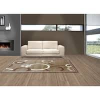 LYKE Home Audrey Brown/ Beige Area Rug