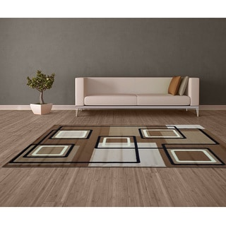 LYKE Home Prism Brown/ Earth Tones Area Rug (5' x 8')