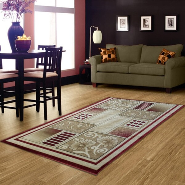 LYKE Home McKayla Red/ Beige Area Rug (5' x 8')