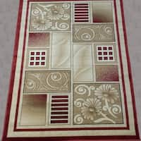 LYKE Home McKayla Red/ Beige Area Rug