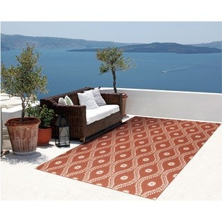 Rug Squared Palmetto Rust Indoor/Outdoor Area Rug (5'3 x 7'5)