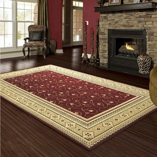 LYKE Home Prism Red/ Beige Area Rug (5' x 8')
