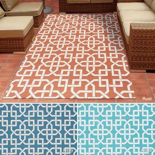 Rug Squared Palmetto Geometric Indoor/Outdoor Area Rug (5'3 x 7'5)