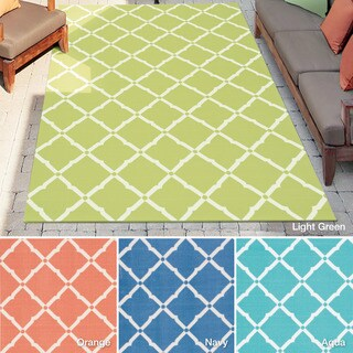 Nourison Rug Squared Palmetto Lattice Indoor/Outdoor Area Rug (5' 3 x 7' 5)