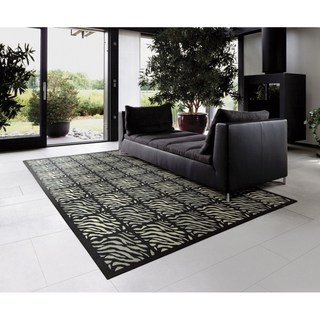 Rug Squared Palmetto Black Indoor/ Outdoor Rug (5'3 x 7'5)