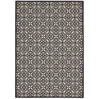 Rug Squared Palmetto Black/White Rug (5'3 x 7'5)