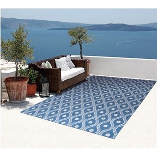 Rug Squared Palmetto Navy Indoor/Outdoor Area Rug (5'3 x 7'5)