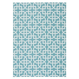 Rug Squared Palmetto Geometric Indoor/Outdoor Area Rug (10 x 13) (Blue - 10 x 13)